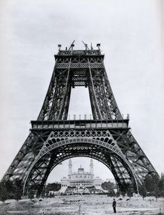 The Eiffel Tower during its construction in the late 1880s.