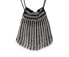 1920s Beaded Purse Gray Swag Beading Glass Beads Black Knit