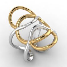 """Tempus "" silver, gold plated ring ."