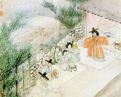 (Korea) A shaman by Shin Yun-bok ? ca century CE. Korean Art, Asian Art, Korean Traditional, Traditional Art, Shaman Ritual, Korean Painting, Korean Hanbok, T Art, Asian History