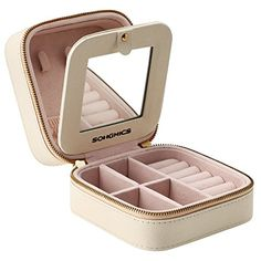 SONGMICS Small Jewelry Box Portable Travel Case Organizer for Rings Necklaces, Gift for Girls & Women, With Mirror and Double Zipper, Beige, Travel Jewelry Box, Small Jewelry Box, Keep Jewelry, Jewelry Case, Fine Jewelry, Jewelry Drawer, Jewellery Storage, Jewelry Organization, Moon Necklace