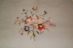 Antique Floral Needlepoint Seat Cover Stool by MrsWintersCottage