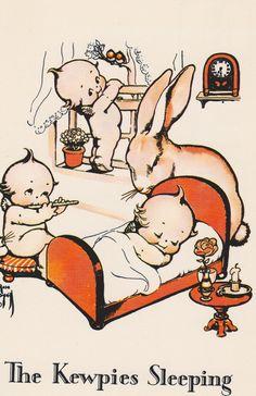 The KEWPIES SLEEPING ILLUSTRATION Vintage Unused Postcard by AgnesOfBohemia, $3.99