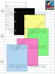 Lined Notebook Digital Paper Bundle from tongassteacher on TeachersNotebook.com -  (14 pages)  - This versatile and colorful digital paper set includes 14 lined notebook style papers (with and without holes) in different colors (including a black page)!