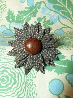 Tweed Flower Brooch by georgieboy on Etsy, $14.00