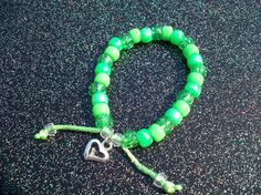Items similar to One Adjustable Green Pony Bead Bracelet on Etsy Pony Bead Bracelets, Pony Beads, Pony Bead Patterns, Beading Patterns, Letter Beads, Diy Accessories, Kandi, Key Chains, Fun Crafts
