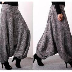 Women's Pant's Korean Tide Linen Loose Large Size Natural Waist Ankle-lenght for Autumn Sarouel Pants, Cotton Harem Pants, Skirt Pants, Harem Pants Outfit, Fashion Pants, Boho Fashion, Fashion Outfits, Womens Fashion, Fashion Details
