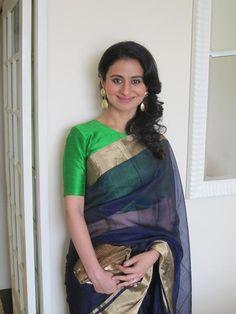 Handloom sari with raw silk blouse