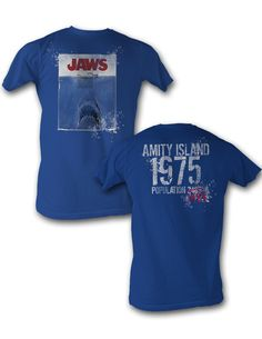 Jaws 1975 Colored Beach /& Sun Adult T Shirt Classic Movie