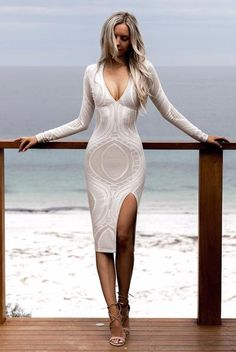 30 Trending And Feminine Summer Outfits From Fashionista : Kirsty Fleming White Lace Dress Tight Dresses, Sexy Dresses, Beautiful Dresses, Beautiful Women, Sleeve Dresses, Lace Dresses, Dress Lace, White Dress, Cool Summer Outfits