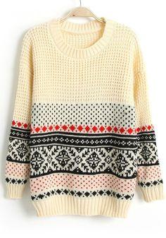 Beige Geometric Print Round Neck Loose Wool Sweater
