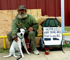 Give someone and his dog a home.        Homeless Man and Dog by photographyguy, via Flickr