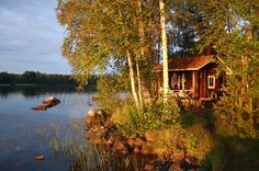 sauna House With Land, Natural Architecture, Swedish Cottage, Outdoor Sauna, Water Aesthetic, Finnish Sauna, Summer Cabins, Saunas, Summer Dream
