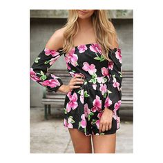 Rotita Off the Shoulder Long Sleeve Printed Romper ($19) ❤ liked on Polyvore featuring jumpsuits, rompers, black, black rompers, long sleeve romper, playsuit romper, black off the shoulder romper and off shoulder romper