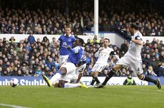 22 March 2014 Romelu Lukaku stretches out a leg to turn home an inviting cross from Kevin Mirallas into the Swansea net