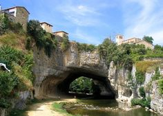 Puentedey (Burgos). Spain. The village over a majestic natural bridge.