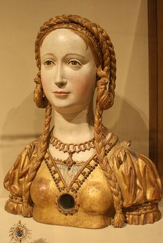 Reliquary Bust of a Female Saint    Oak, polychromed and gilt on plaster ground; glass opening for relic  South Lowlands, Brussels (?)  ca. 1520–30