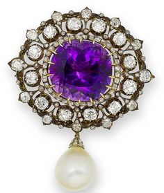 An amethyst, diamond and cultured pearl brooch  The large cushion-shaped amethyst within a 19th century openwork frame of old brilliant and rose-cut diamonds, suspending a detachable cultured pearl drop with rose-cut diamond cap, diamonds approximately 6.50 carats total, width 5.2cm.