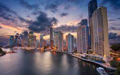 Download wallpapers Queensland, skyscrapers, sunset, cityscape, Australia, Brisbane River, city line