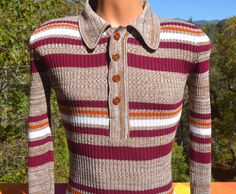 vintage 60s sweater polo knit STRIPES heathered by skippyhaha