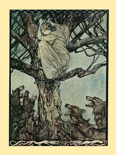 "Arthur Rackham : ""The Snarling Horde"" (Irish Fairy Tales, 1920)"