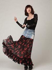 Denim Print Maxi Skirt