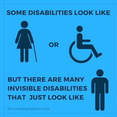 Many Disabilities are invisible. Have you ever seen somebody in a wheelchair get up and walk? by Chronically Hopeful Disability Quotes, Disability Awareness, Chronic Illness Quotes, Mental Illness, Complex Regional Pain Syndrome, Get Up And Walk, Crps, Chronic Fatigue Syndrome, Invisible Illness