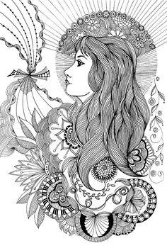 flower woman doodle