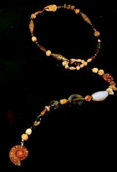 Gemstone ammonite lariat by SimplyJosette on Etsy, $329.00
