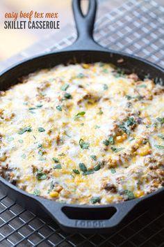 Easy Skillet Beef Tex Mex Casserole Recipe on Yummly. @yummly #recipe