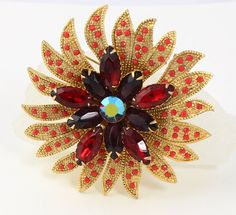 Vintage Signed Brooch  Flower Design  Big Bold by RefinedRetro, $21.00