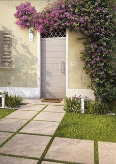 laid on grass as a walkway for a welcoming home by marazziceramiche Outdoor Decor, Porcelain, Outdoor Tiles, Garden Design, Porcelain Tile, Outdoor Spaces, Outdoor Flooring, Dream Garden, Sand And Gravel