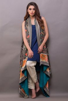 Show details for Floor length digitally printed cape Simple Pakistani Dresses, Pakistani Fashion Casual, Pakistani Dress Design, Indian Dresses, Indian Outfits, Stylish Dresses For Girls, Stylish Dress Designs, Designs For Dresses, Casual Dresses