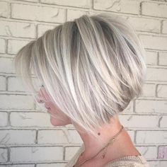 100 Mind-Blowing Short Hairstyles for Fine Hair Angled Silver Balayage Bob With Swoopy Layers
