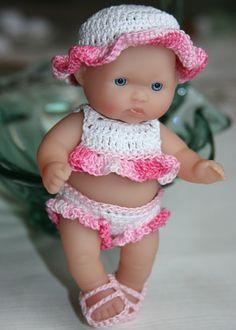 PATTERN Crochet 5 inch Berenguer Baby Doll Sunsuit Set. $5.00, via Etsy.