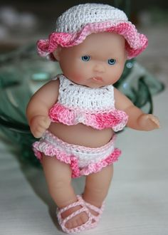 PATTERN Crochet 5 inch Berenguer Baby Doll Sunsuit Set. $5.00, via Etsy.