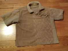 Vintage oriental style top slub cotton frog fasteners Med Large rough cotton #Unbranded #Blouse