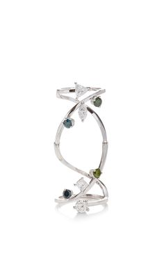 Blue And Green Diamond Handroid Ring by Delfina Delettrez for Preorder on Moda Operandi