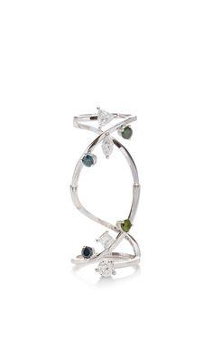 Blue And Green Diamond Handroid Ring by Delfina Delettrez for Preorder on Moda Operandi