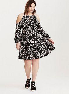 Plus Size Floral Print Cold Shoulder Tie Neck Skater Dress, SABRINE TANGO