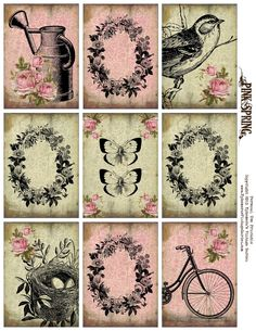 Ephemera's Vintage Garden: Free Printable - Spring ATC's/Pocket Letter Cards. Personal use only.