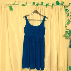 CLOSET CLEAR OUT SALE!  Royal Blue Dress Beautiful royal blue color, empire waist with cute little bow.  This dress has only been worn once and is in mint condition.  Perfect for anything from weddings to a night on the town to Sunday brunch!  Really well made, quality dress that will last as your go to dress for years. A.B.S. Dresses