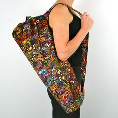 FREE SHIPPING- Yoga Bag in Amelia Caruso Effervescence on Black with a Zipper Pocket Inside by shantidesigns via Etsy