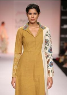 Mustard And Off White Knee Length Dress
