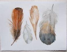 Feather painting Watercolor original illustration of four por rakla