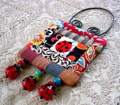 lady bug miniature quilt - one of a kind