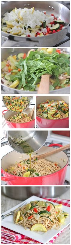 Vegetable Party Spaghetti with Warm Garlic Thyme Olive Oil - Latest Food