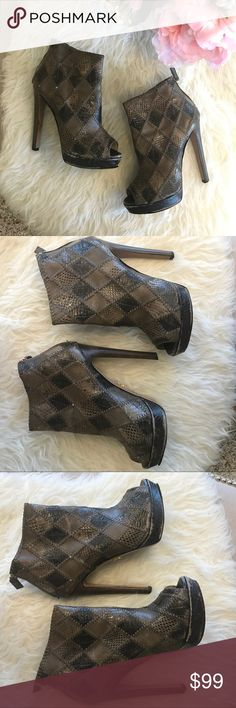 "Prada patchwork leather open-toe bootie Authentic Prada patchwork leather open-toe bootie. Pre-loved with significant wear throughout. Sole on right shoe is separating. Can be glued or repaired by cobbler. Approx. 5.5"" heel with significant wear on bottom. Size 39.5. Prada Shoes Ankle Boots & Booties"