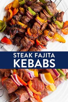 A yummy twist on beef skewers these steak fajita kebabs are a summer bbq favorite and also keto diet, and clean eating approved Make this healthy summer recipe on the grill or in the oven It doesn't even need time to marinade! Grilled Steak Recipes, Healthy Grilling Recipes, Healthy Summer Recipes, Clean Eating Recipes, Beef Recipes, Best Grill Recipes, Healthy Steak, Advocare Recipes, Beef Kabob Marinade