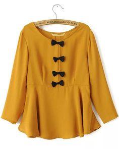 Yellow Long Sleeve Bow Ruffle Chiffon Blouse